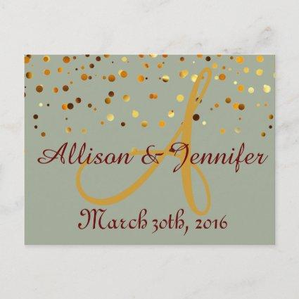Save the date Green and Gold Glitter Faux Foil Announcement