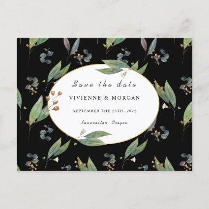 Save the date green leaf black gold wedding announcement