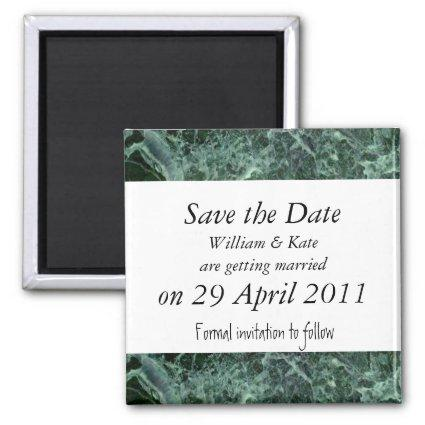 Save the date green marble Magnets