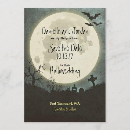 Save The Date Halloween Wedding Moon Cemetery Cards Save The