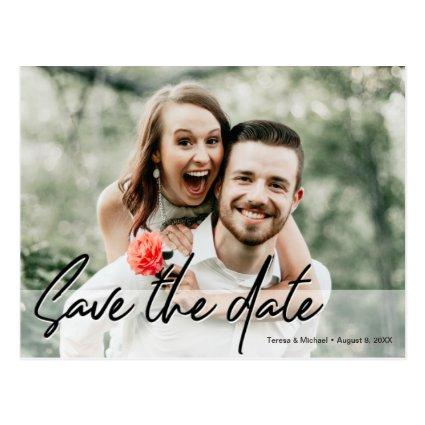 Save the Date Handwritten script Engagement Photo