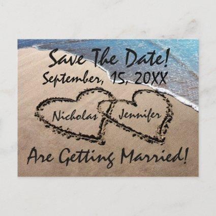 Save The Date Hearts Sand Beach Wedding Cards