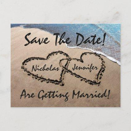 Save The Date Hearts Sand Beach Wedding