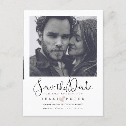 Save the Date, instant camera photo frame Announcement