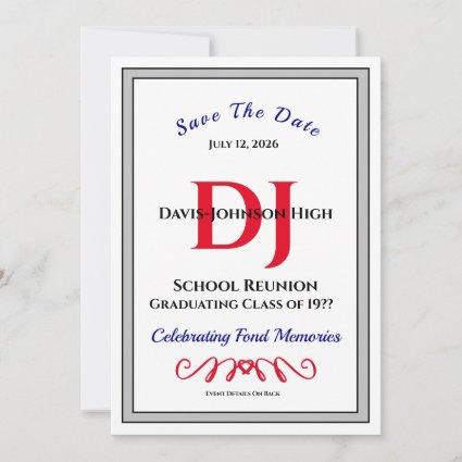 Save The Date Invitation Formal School Reunion