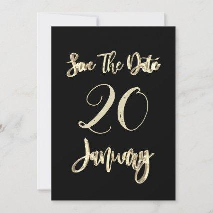 Save The Date January Party Black and Gold Script