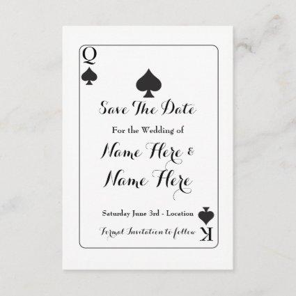 Save The Date King Queen Ace Spades Wedding Invite