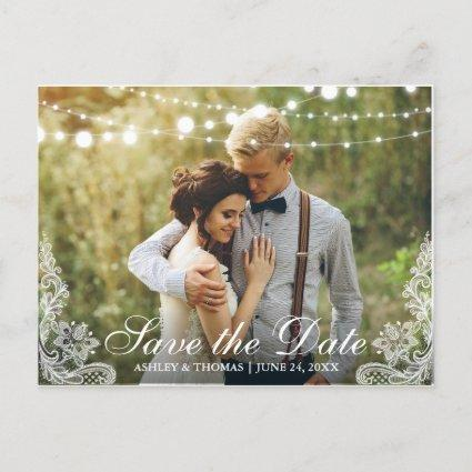 Save the Date Lace and String Lights Photo Announcement