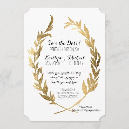 Save the Date Laurel Wreath Olive Leaf Faux Gold