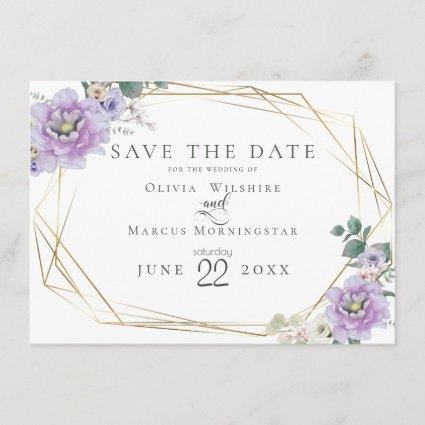 Save the Date | Lavender Watercolour Peony Flower Invitation