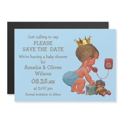 Save The Date Little Prince on Phone Gray Blue Magnetic Invitation