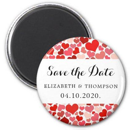 Save the Date - Love, Romance, Hearts - Red White Magnet