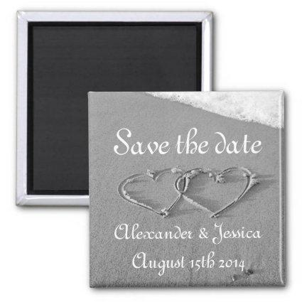 Save the date magnet   Drawn hearts in beach sand