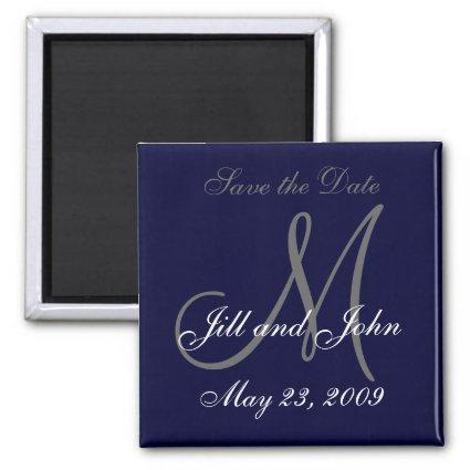Save the Date Magnet First Names, Initials Navy