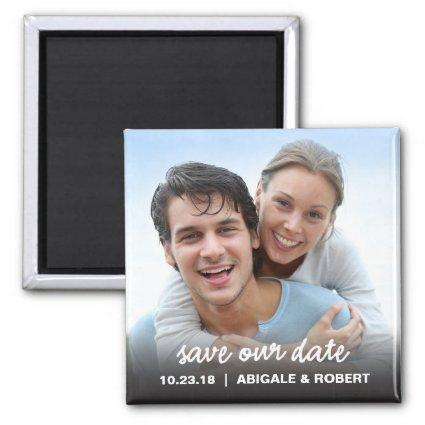 Save The Date Magnet | Simple Script Square