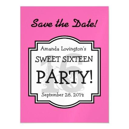 Save the Date Magnet Sweet 16 Birthday A02B PINK
