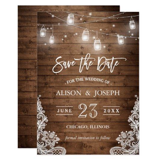 Save The Date Mason Jars Lights Rustic Wood Lace Cards