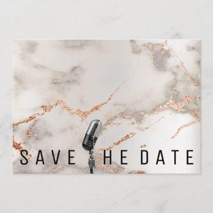 Save The Date Microphone Copper Gray Coral Marble