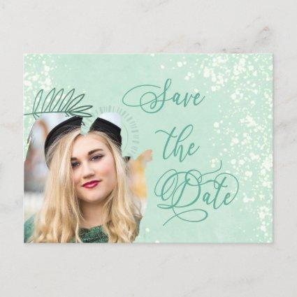 Save the Date Mint Watercolor Wash Photo Announcement