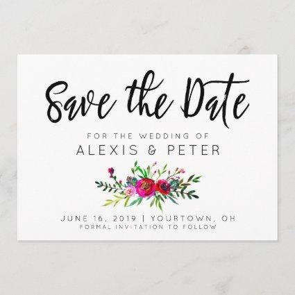 Save the Date Modern Boho Floral Stripes Minimal