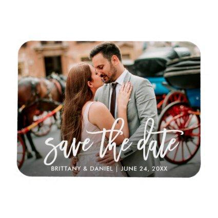 Save The Date Modern Brush Script Couple Magnets