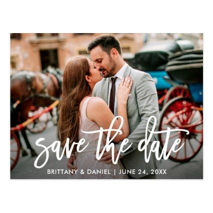 Save The Date Modern Brush Script Couple Photo