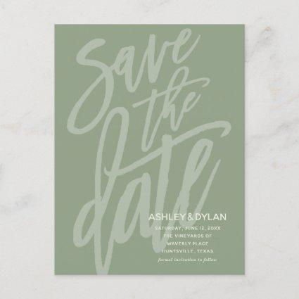 Save the Date Modern Brush Script Sage Green Announcement