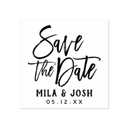 Save the Date Modern Brushed Script Custom Rubber Stamp