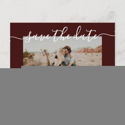 Save the date modern chic red typography photo announcement