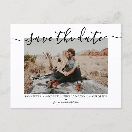 Save the date modern chic typography photo announcement