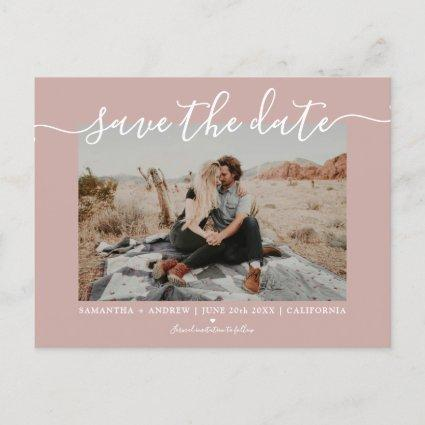 Save the date modern dusty rose typography photo announcement