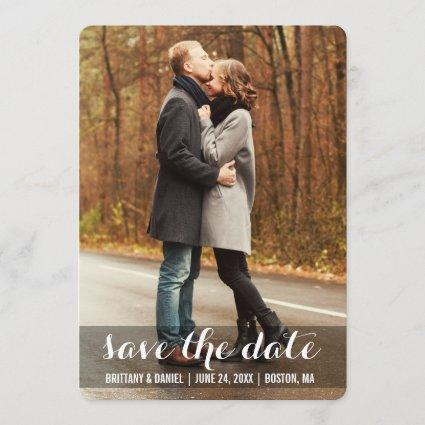 Save The Date Modern Engagement Photo Cards LWBR