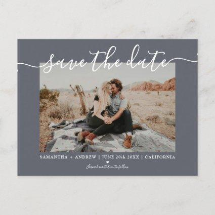 Save the date modern gray typography photo announcement