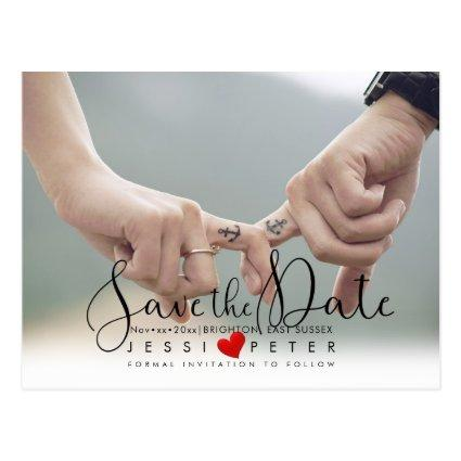 Save the Date, Modern Handwritten Script, Heart