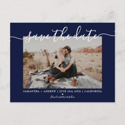 Save the date modern navy blue typography photo announcement