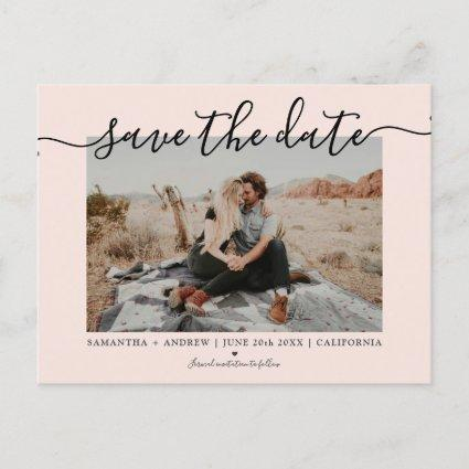 Save the date modern pink typography photo announcement