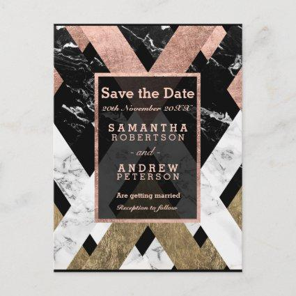Save the Date modern rose gold marble geometric Announcement