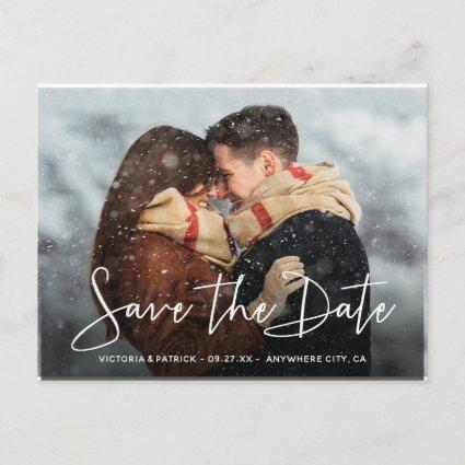 Save the Date Modern Script Typography Wedding Announcements Cards