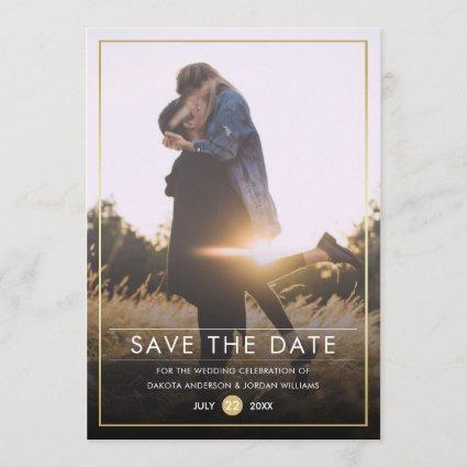 Save The Date | Modern Typography & Gold Photo