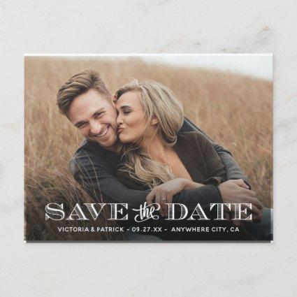 Save the Date Modern Typography Photo Wedding Announcements Cards