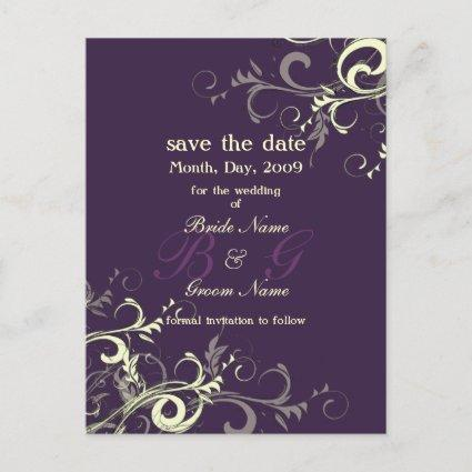 Save the Date, monogram cream swirls/DIY color! Announcement