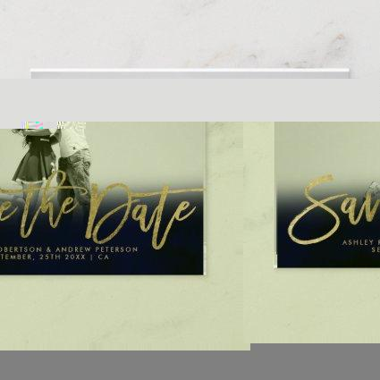 Save the Date navy blue gold faux gold photo Announcement
