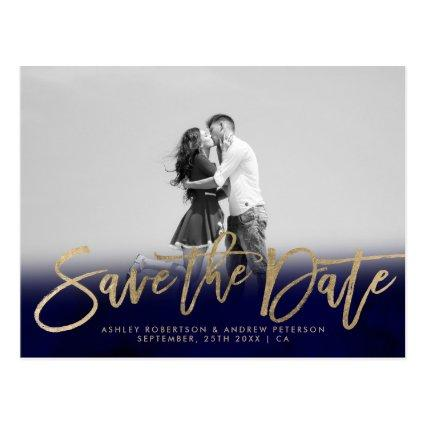 navy blue gold faux gold photo Cards