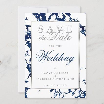 Save the Date Navy Blue Marble, Silver & White