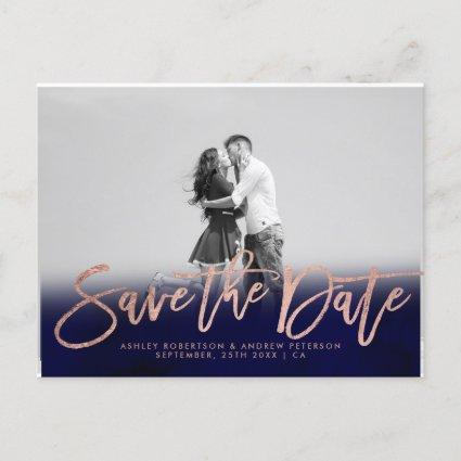 Save the Date navy blue rose gold photo Announcements Cards