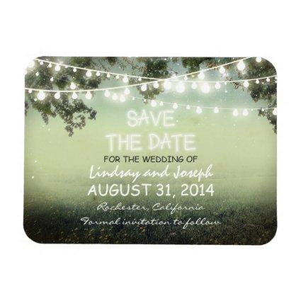 save the date night lights rustic MAGNET
