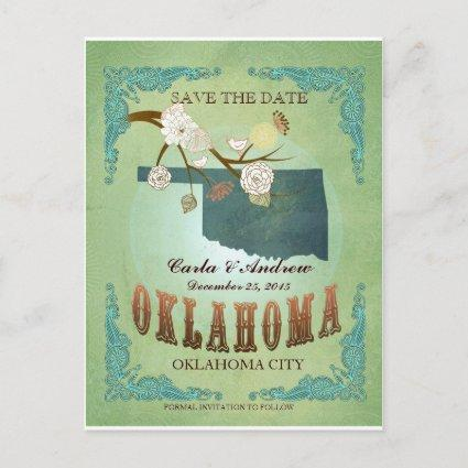 Save The Date - Oklahoma Map With Lovely Birds Announcement