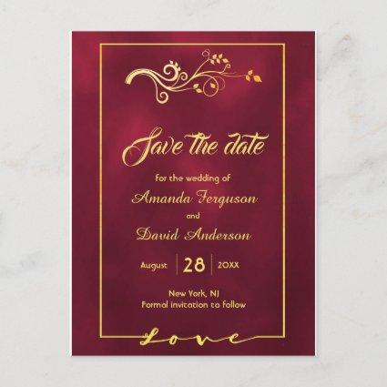 Save the date on burgundy gold decor