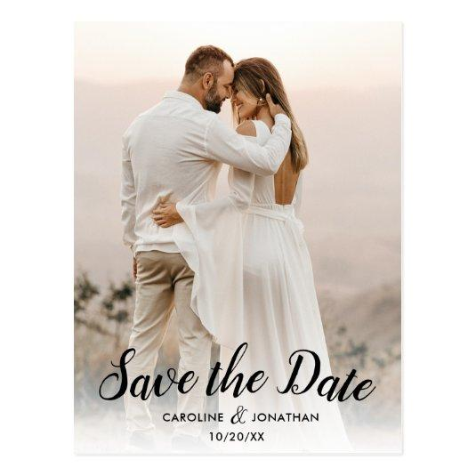 Save the Date One Large Photo Pretty Text Overlay