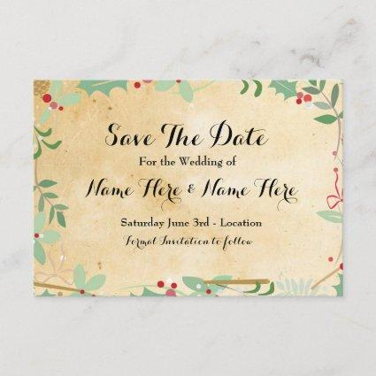 Save The Date Paper Rustic Winter Holidays Berries